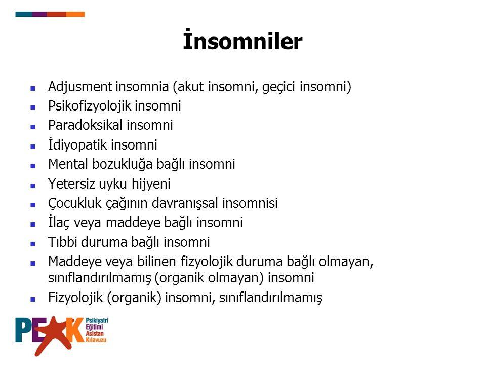 İnsomniler Adjusment insomnia (akut insomni, geçici insomni) Psikofizyolojik insomni Paradoksikal insomni İdiyopatik insomni Mental bozukluğa bağlı in