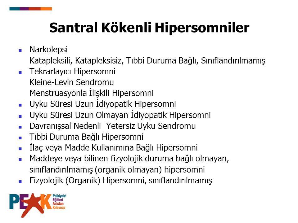 Santral Kökenli Hipersomniler Narkolepsi Katapleksili, Katapleksisiz, Tıbbi Duruma Bağlı, Sınıflandırılmamış Tekrarlayıcı Hipersomni Kleine-Levin Send