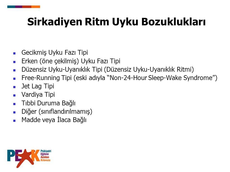 Sirkadiyen Ritm Uyku Bozuklukları Gecikmiş Uyku Fazı Tipi Erken (öne çekilmiş) Uyku Fazı Tipi Düzensiz Uyku-Uyanıklık Tipi (Düzensiz Uyku-Uyanıklık Ri
