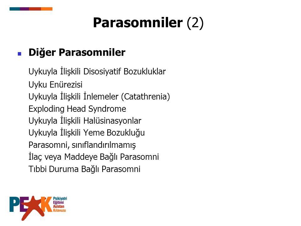 Parasomniler (2) Diğer Parasomniler Uykuyla İlişkili Disosiyatif Bozukluklar Uyku Enürezisi Uykuyla İlişkili İnlemeler (Catathrenia) Exploding Head Sy
