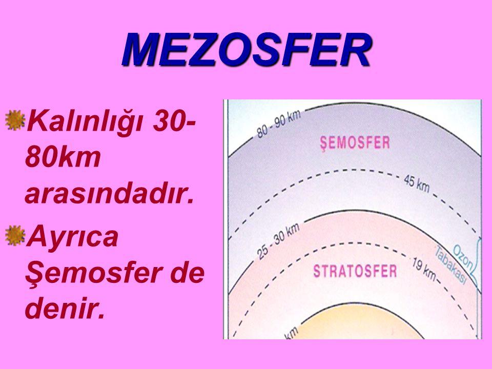 MEZOSFER Kalınlığı 30- 80km arasındadır. Ayrıca Şemosfer de denir.