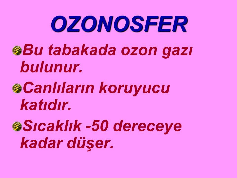 OZONOSFER Bu tabakada ozon gazı bulunur.Canlıların koruyucu katıdır.