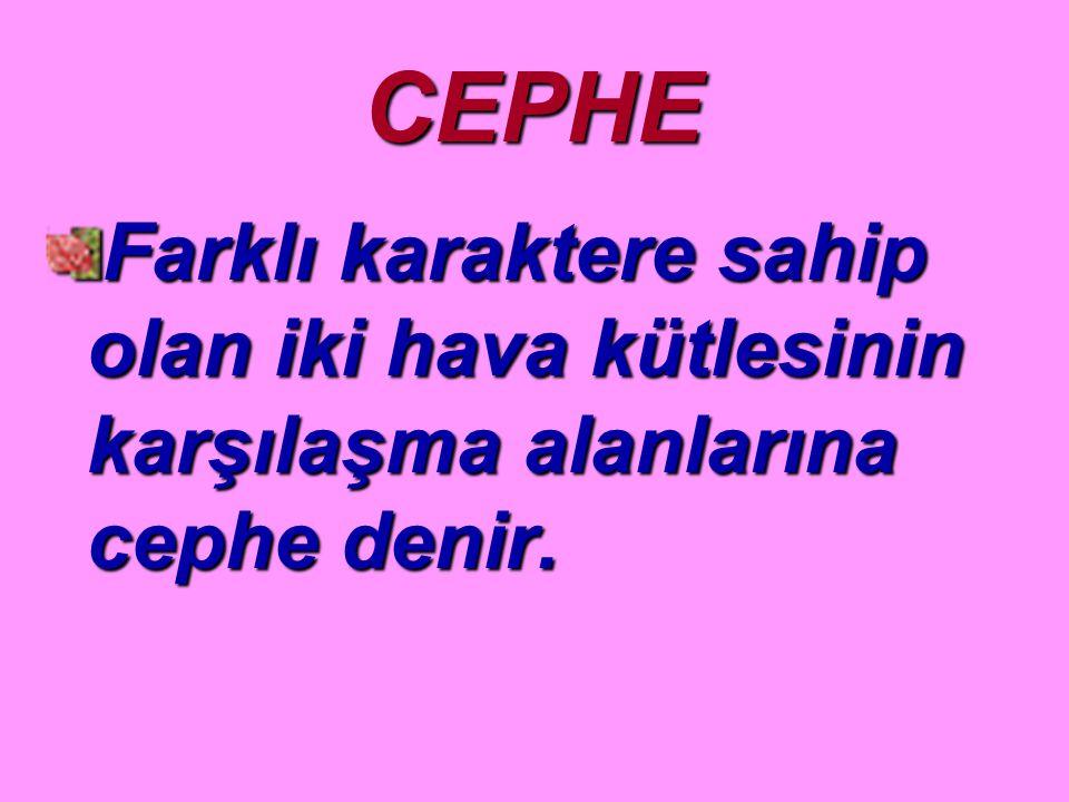 CEPHE Farklı karaktere sahip olan iki hava kütlesinin karşılaşma alanlarına cephe denir.