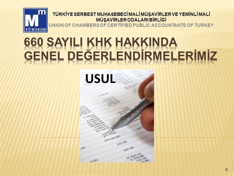 29 TÜRKİYE SERBEST MUHASEBECİ MALİ MÜŞAVİRLER VE YEMİNLİ MALİ MÜŞAVİRLER ODALARI BİRLİĞİ UNION OF CHAMBERS OF CERTİFİED PUBLİC ACCOUNTANTS OF TURKEY