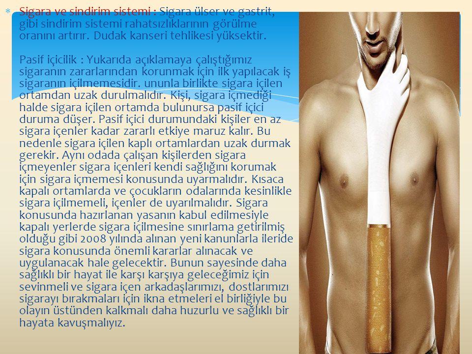 Sigara ve sindirim sistemi : Sigara ülser ve gastrit, gibi sindirim sistemi rahatsızlıklarının görülme oranını artırır. Dudak kanseri tehlikesi yüks