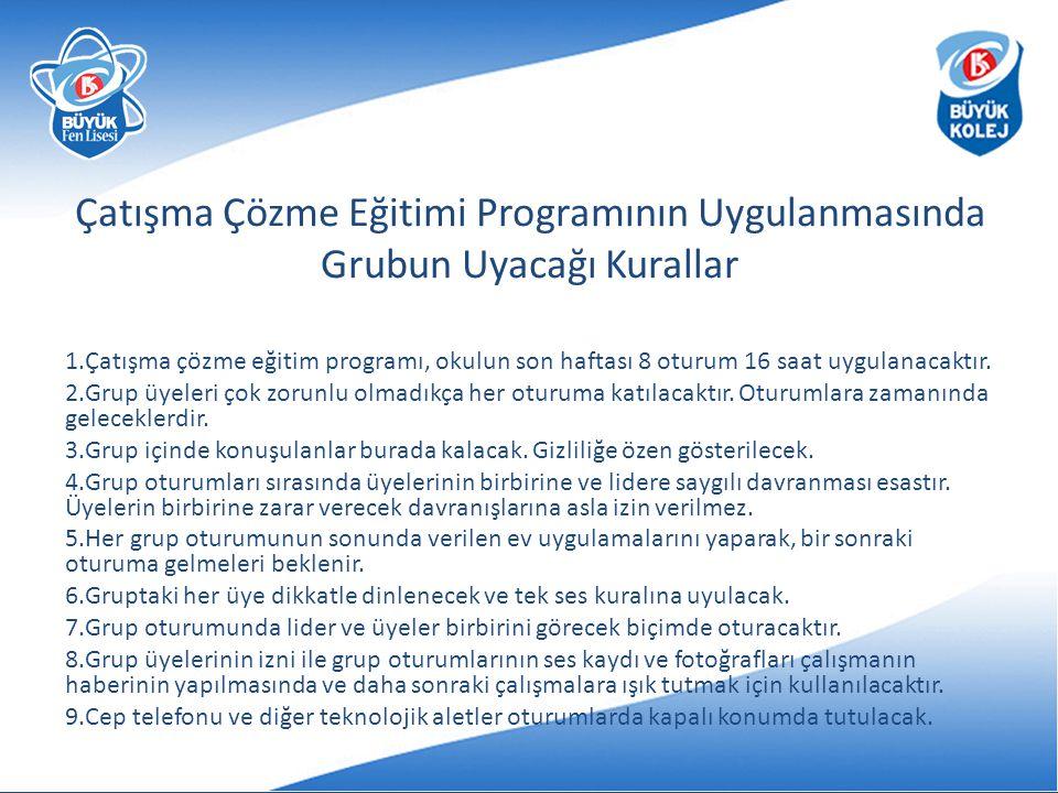 Çatışma Çözme Eğitimi Programının Uygulanmasında Grubun Uyacağı Kurallar 1.Çatışma çözme eğitim programı, okulun son haftası 8 oturum 16 saat uygulana