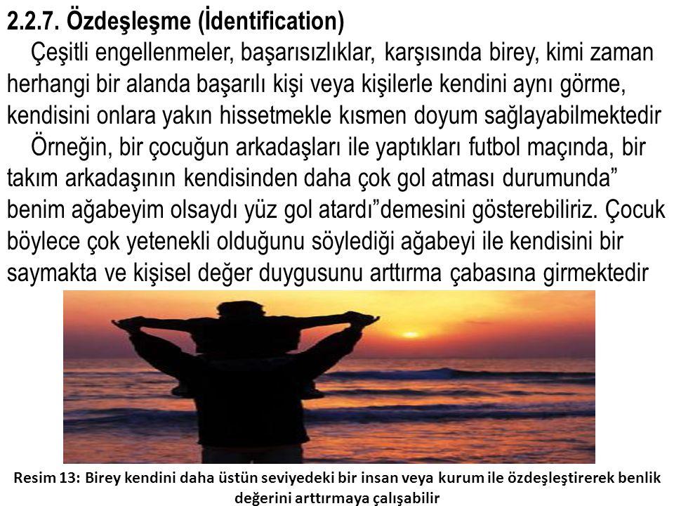 2.2.7. Özdeşleşme (İdentification) Çeşitli engellenmeler, başarısızlıklar, karşısında birey, kimi zaman herhangi bir alanda başarılı kişi veya kişiler