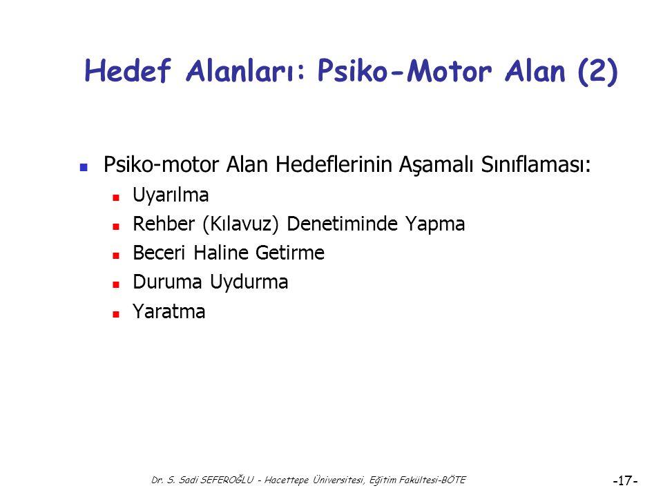 Dr. S. Sadi SEFEROĞLU - Hacettepe Üniversitesi, Eğitim Fakültesi-BÖTE -16- Hedef Alanları: Psiko-Motor Alan Psiko-Motor (Devinişsel) Alan Davranışları