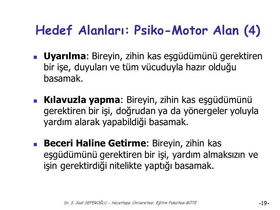 Dr. S. Sadi SEFEROĞLU - Hacettepe Üniversitesi, Eğitim Fakültesi-BÖTE -18- Hedef Alanları: Psiko-Motor Alan ( 3 ) Psiko-motor Alan Hedeflerinin Aşamal