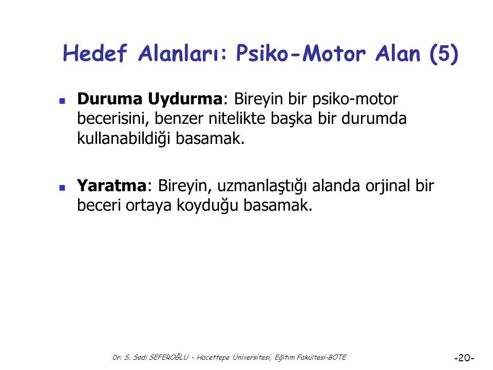 Dr. S. Sadi SEFEROĞLU - Hacettepe Üniversitesi, Eğitim Fakültesi-BÖTE -19- Hedef Alanları: Psiko-Motor Alan ( 4 ) Uyarılma: Bireyin, zihin kas eşgüdüm