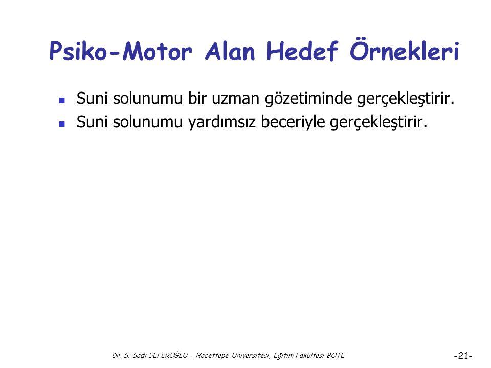 Dr. S. Sadi SEFEROĞLU - Hacettepe Üniversitesi, Eğitim Fakültesi-BÖTE -20- Hedef Alanları: Psiko-Motor Alan ( 5 ) Duruma Uydurma: Bireyin bir psiko-mo