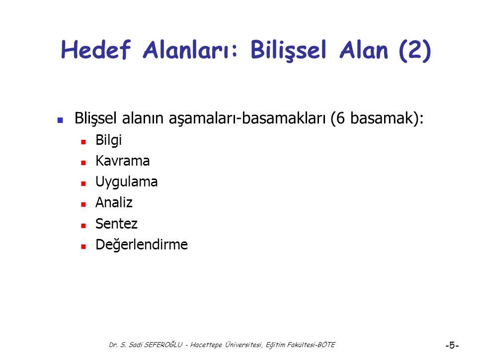 Dr. S. Sadi SEFEROĞLU - Hacettepe Üniversitesi, Eğitim Fakültesi-BÖTE -4- Hedef Alanları: Bilişsel Alan Bilişsel Alan Davranışları: Zihnin öğrenme ama