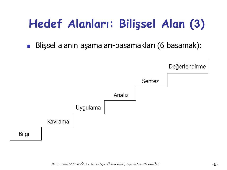 Dr. S. Sadi SEFEROĞLU - Hacettepe Üniversitesi, Eğitim Fakültesi-BÖTE -5- Hedef Alanları: Bilişsel Alan (2) Blişsel alanın aşamaları-basamakları (6 ba