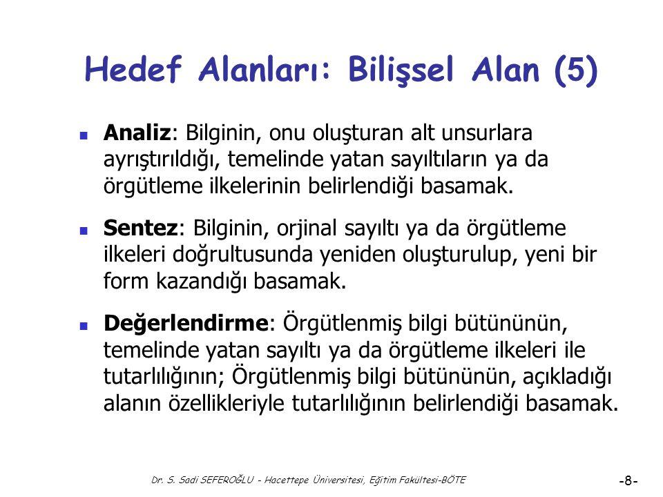 Dr. S. Sadi SEFEROĞLU - Hacettepe Üniversitesi, Eğitim Fakültesi-BÖTE -7- Hedef Alanları: Bilişsel Alan ( 4 ) Bilgi: Bilginin, hiçbir değişime uğratıl