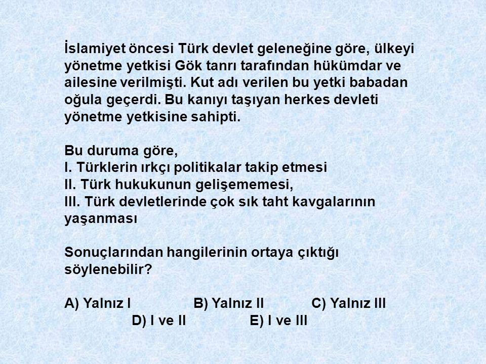 İslamiyet öncesi Türk devlet geleneğine göre, ülkeyi yönetme yetkisi Gök tanrı tarafından hükümdar ve ailesine verilmişti. Kut adı verilen bu yetki ba