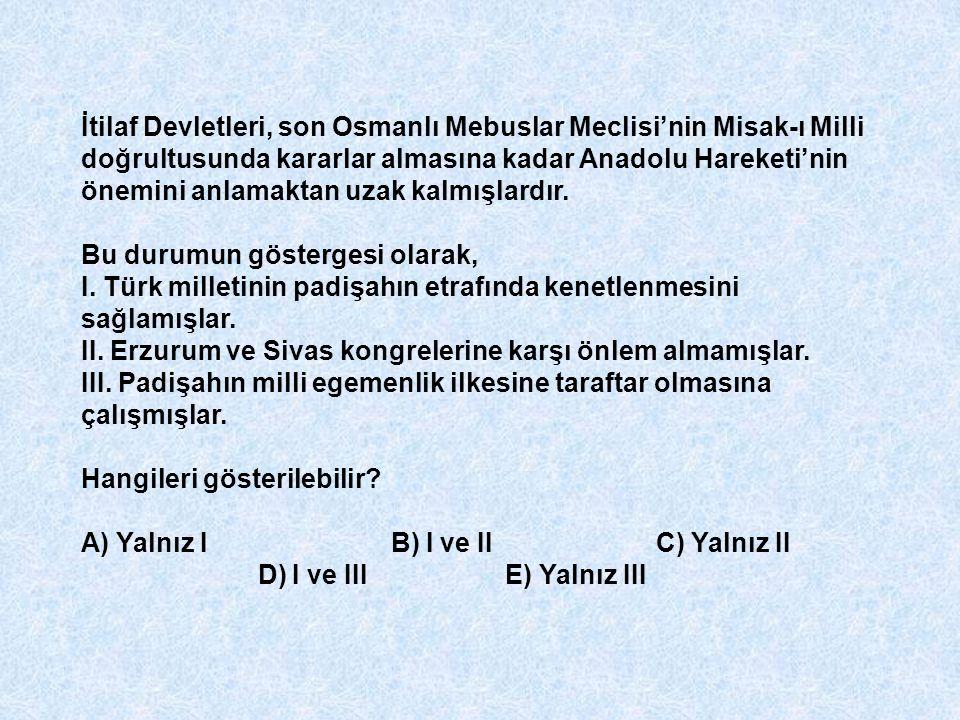 İtilaf Devletleri, son Osmanlı Mebuslar Meclisi'nin Misak-ı Milli doğrultusunda kararlar almasına kadar Anadolu Hareketi'nin önemini anlamaktan uzak k