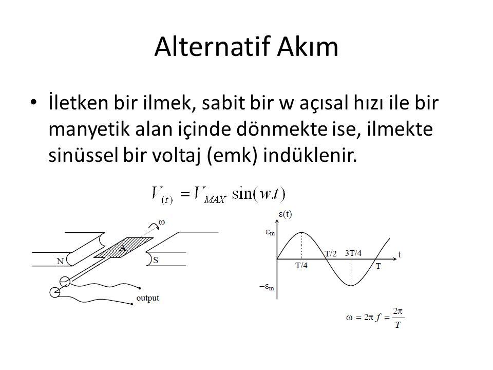 Alternatif Akım İletken bir ilmek, sabit bir w açısal hızı ile bir manyetik alan içinde dönmekte ise, ilmekte sinüssel bir voltaj (emk) indüklenir.