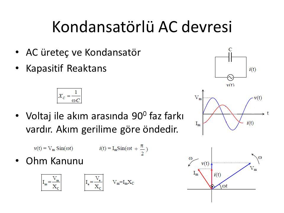 Kondansatörlü AC devresi AC üreteç ve Kondansatör Kapasitif Reaktans Voltaj ile akım arasında 90 0 faz farkı vardır. Akım gerilime göre öndedir. Ohm K