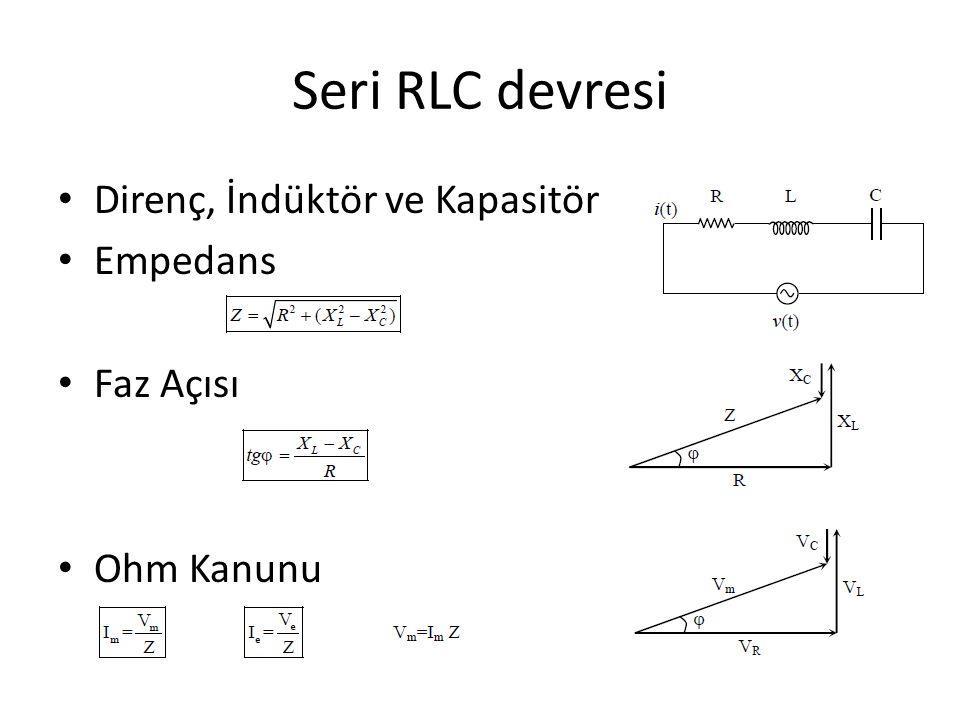 Seri RLC devresi Direnç, İndüktör ve Kapasitör Empedans Faz Açısı Ohm Kanunu