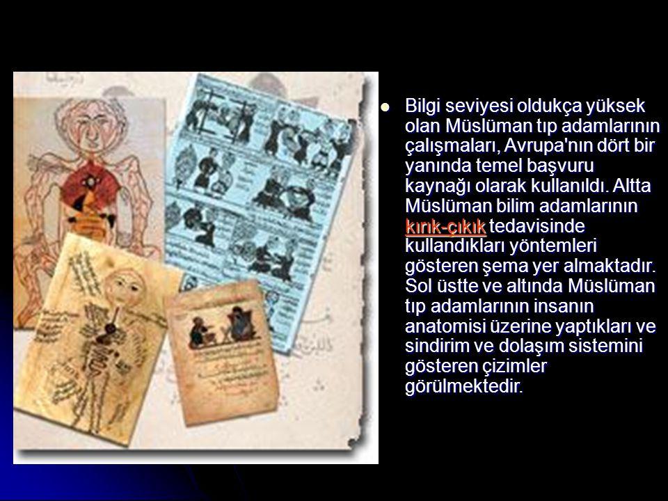 Bilgi seviyesi oldukça yüksek olan Müslüman tıp adamlarının çalışmaları, Avrupa'nın dört bir yanında temel başvuru kaynağı olarak kullanıldı. Altta Mü