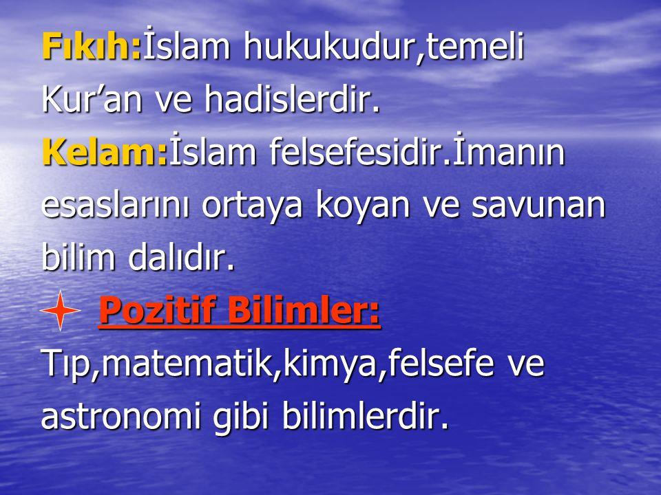 Fıkıh:İslam hukukudur,temeli Kur'an ve hadislerdir. Kelam:İslam felsefesidir.İmanın esaslarını ortaya koyan ve savunan bilim dalıdır. Pozitif Bilimler