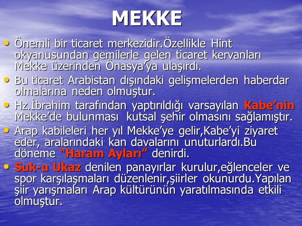 MEKKE Önemli bir ticaret merkezidir.Özellikle Hint okyanusundan gemilerle gelen ticaret kervanları Mekke üzerinden Önasya'ya ulaşırdı. Önemli bir tica