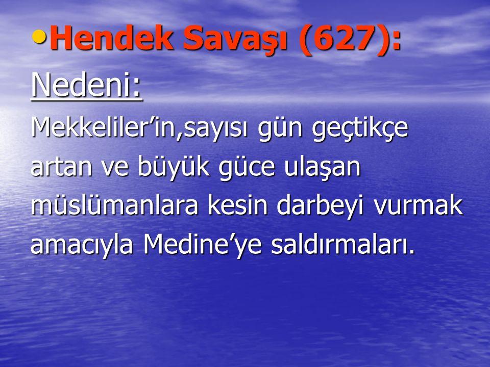 Hendek Savaşı (627): Hendek Savaşı (627):Nedeni: Mekkeliler'in,sayısı gün geçtikçe artan ve büyük güce ulaşan müslümanlara kesin darbeyi vurmak amacıyla Medine'ye saldırmaları.