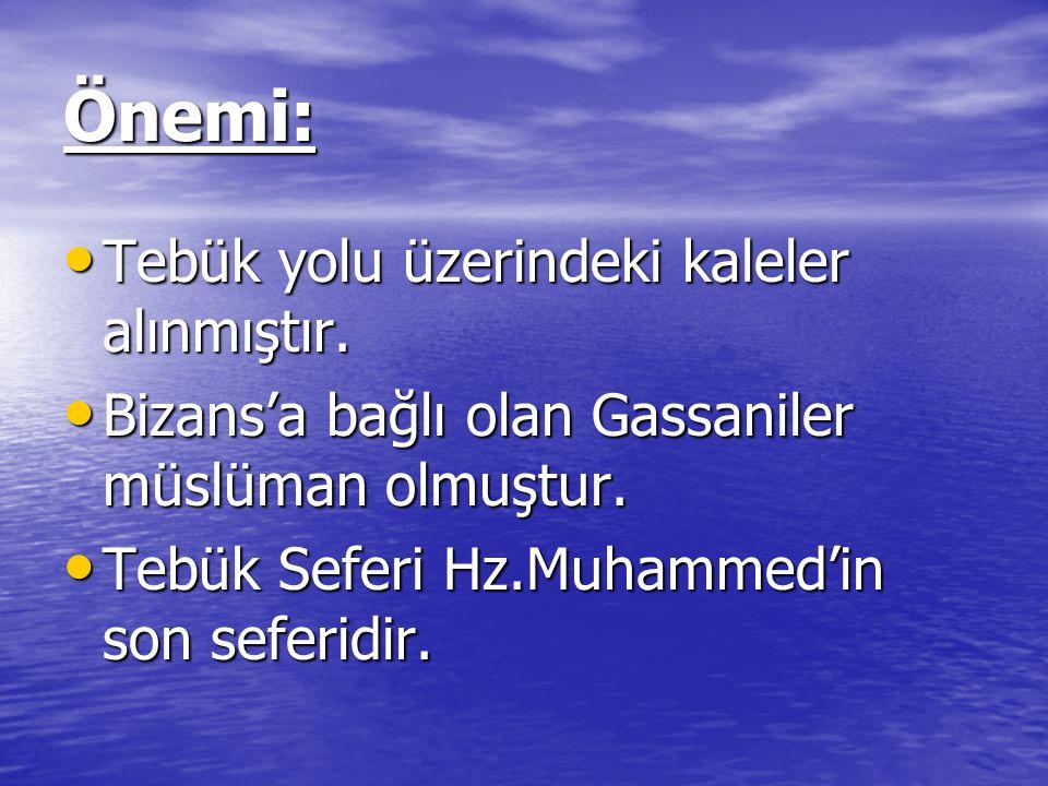 Önemi: Tebük yolu üzerindeki kaleler alınmıştır. Tebük yolu üzerindeki kaleler alınmıştır. Bizans'a bağlı olan Gassaniler müslüman olmuştur. Bizans'a