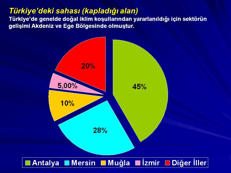 Türkiye'deki sahası (kapladığı alan) Türkiye'de genelde doğal iklim koşullarından yararlanıldığı için sektörün gelişimi Akdeniz ve Ege Bölgesinde olmu