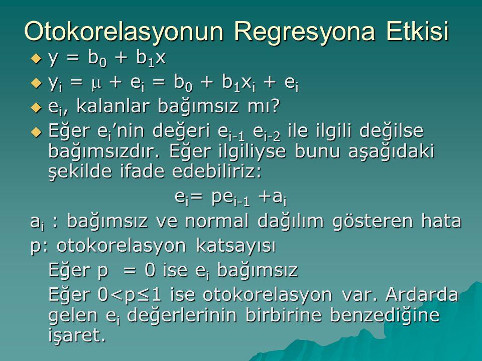 Otokorelasyonun Regresyona Etkisi  y = b 0 + b 1 x  y i =  + e i = b 0 + b 1 x i + e i  e i, kalanlar bağımsız mı?  Eğer e i 'nin değeri e i-1 e