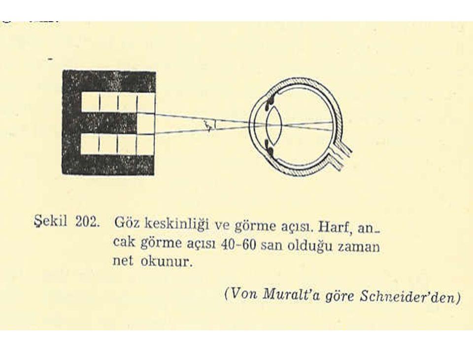 Snellen Levhası Görme keskinliği ölçümünde kullanılır.