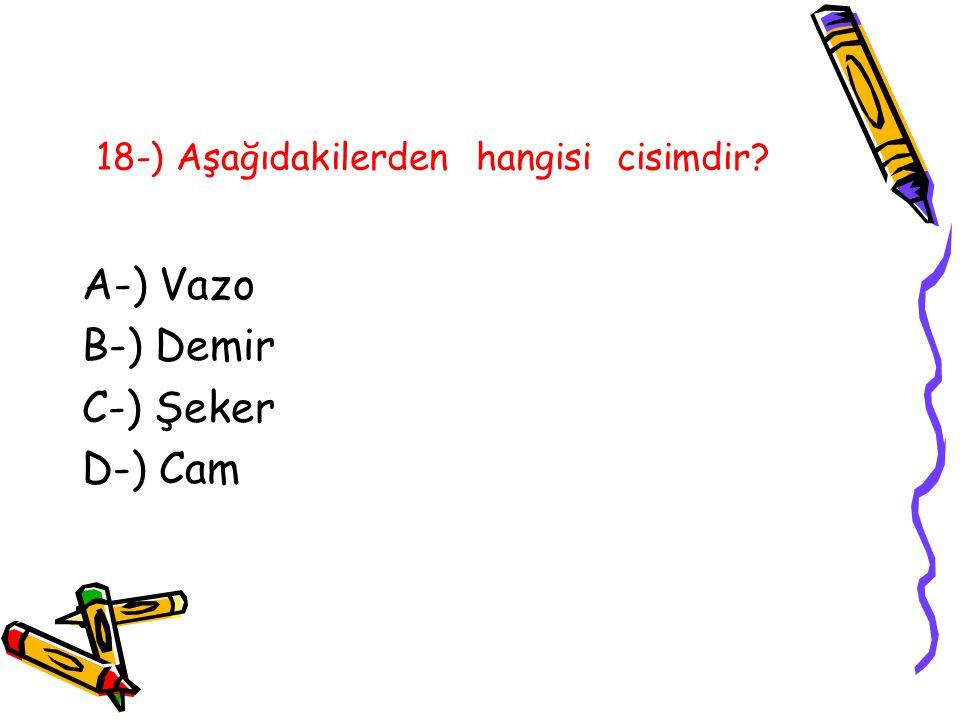 18-) Aşağıdakilerden hangisi cisimdir? A-) Vazo B-) Demir C-) Şeker D-) Cam