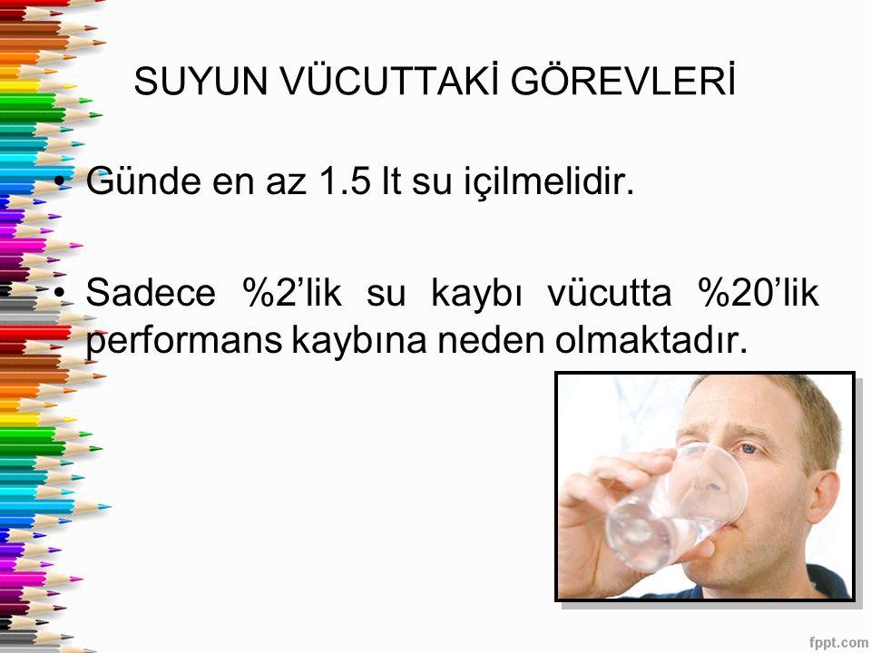 SUYUN VÜCUTTAKİ GÖREVLERİ Günde en az 1.5 lt su içilmelidir. Sadece %2'lik su kaybı vücutta %20'lik performans kaybına neden olmaktadır.