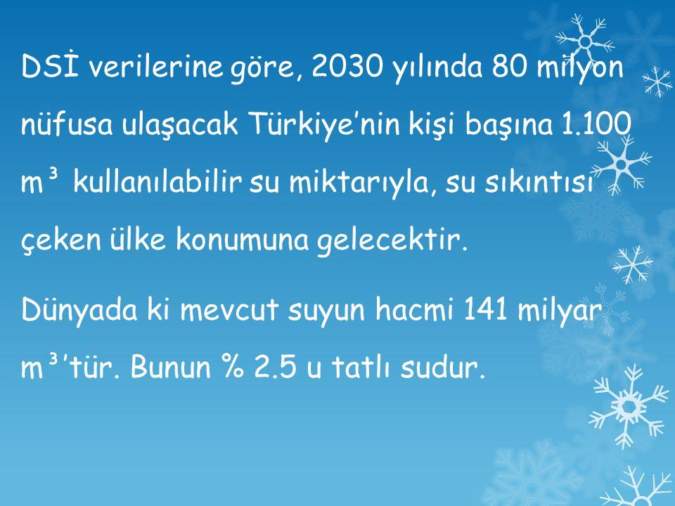 DSİ verilerine göre, 2030 yılında 80 milyon nüfusa ulaşacak Türkiye'nin kişi başına 1.100 m³ kullanılabilir su miktarıyla, su sıkıntısı çeken ülke konumuna gelecektir.