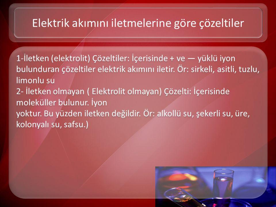 1-İletken (elektrolit) Çözeltiler: İçerisinde + ve — yüklü iyon bulunduran çözeltiler elektrik akımını iletir. Ör: sirkeli, asitli, tuzlu, limonlu su