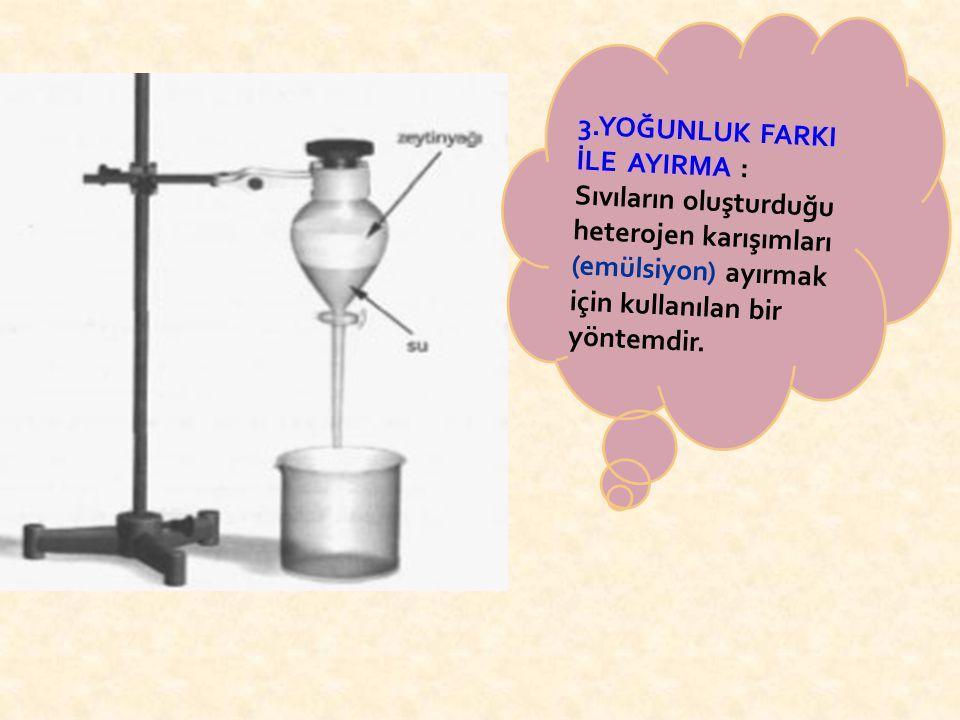 2.YÜZDÜRME: Yoğunlukları farklı olan katı karışımlarını ayırmak için kullanılan bir yöntemdir. Örneğin; talaş ve kum karışımını birbirinden ayırmak iç