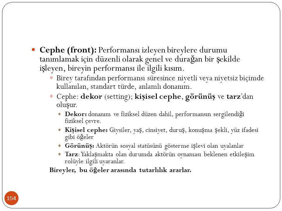 154 Cephe (front): Performansı izleyen bireylere durumu tanımlamak için düzenli olarak genel ve dura ğ an bir ş ekilde i ş leyen, bireyin performansı