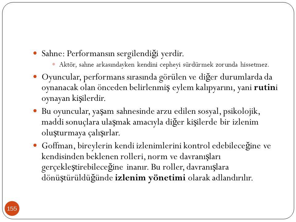 155 Sahne: Performansın sergilendi ğ i yerdir. Aktör, sahne arkasındayken kendini cepheyi sürdürmek zorunda hissetmez. Oyuncular, performans sırasında