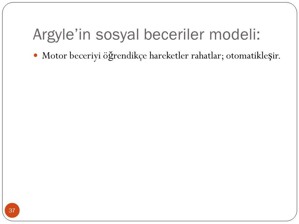 Argyle'in sosyal beceriler modeli: 37 Motor beceriyi ö ğ rendikçe hareketler rahatlar; otomatikle ş ir.