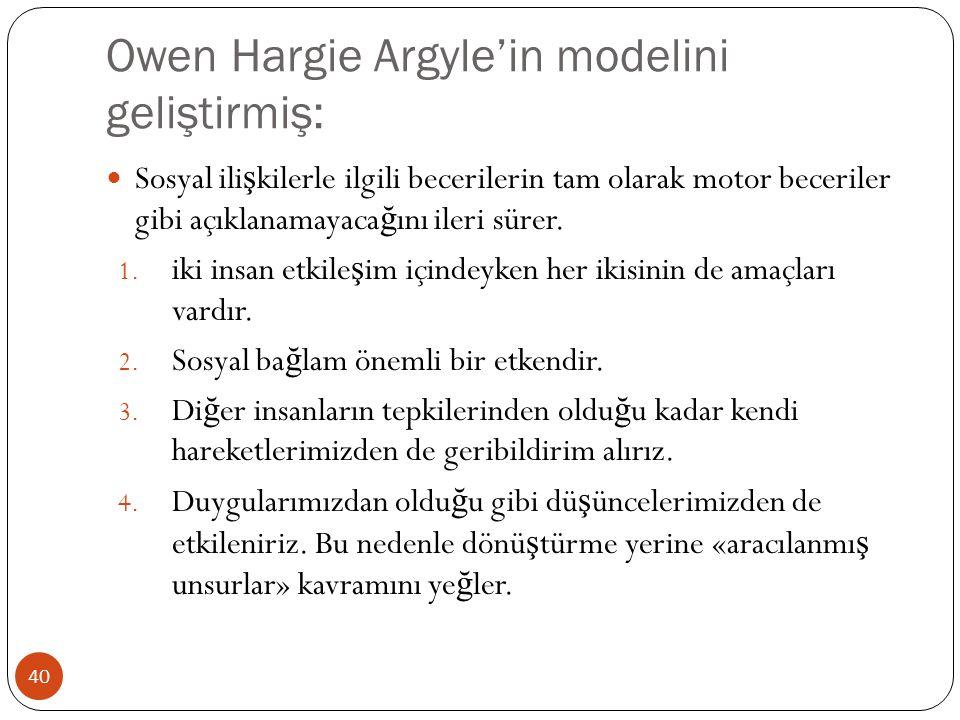Owen Hargie Argyle'in modelini geliştirmiş: 40 Sosyal ili ş kilerle ilgili becerilerin tam olarak motor beceriler gibi açıklanamayaca ğ ını ileri süre