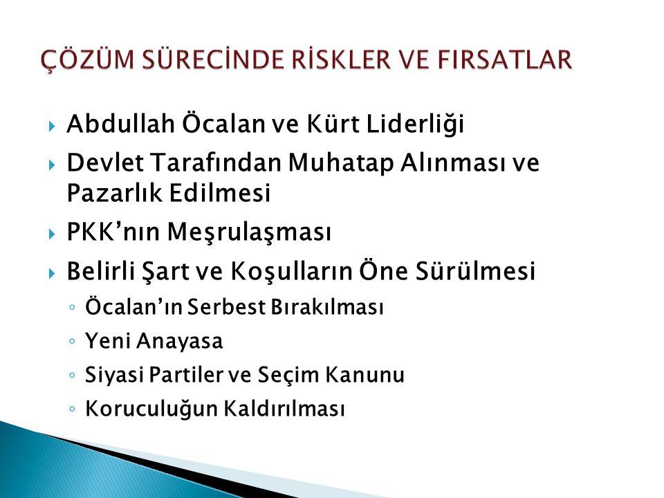  Abdullah Öcalan ve Kürt Liderliği  Devlet Tarafından Muhatap Alınması ve Pazarlık Edilmesi  PKK'nın Meşrulaşması  Belirli Şart ve Koşulların Öne Sürülmesi ◦ Öcalan'ın Serbest Bırakılması ◦ Yeni Anayasa ◦ Siyasi Partiler ve Seçim Kanunu ◦ Koruculuğun Kaldırılması