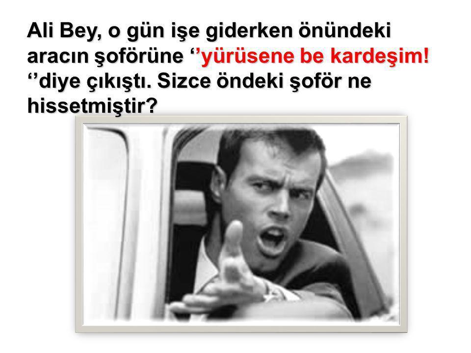Ali Bey, o gün işe giderken önündeki aracın şoförüne ''yürüsene be kardeşim! ''diye çıkıştı. Sizce öndeki şoför ne hissetmiştir?