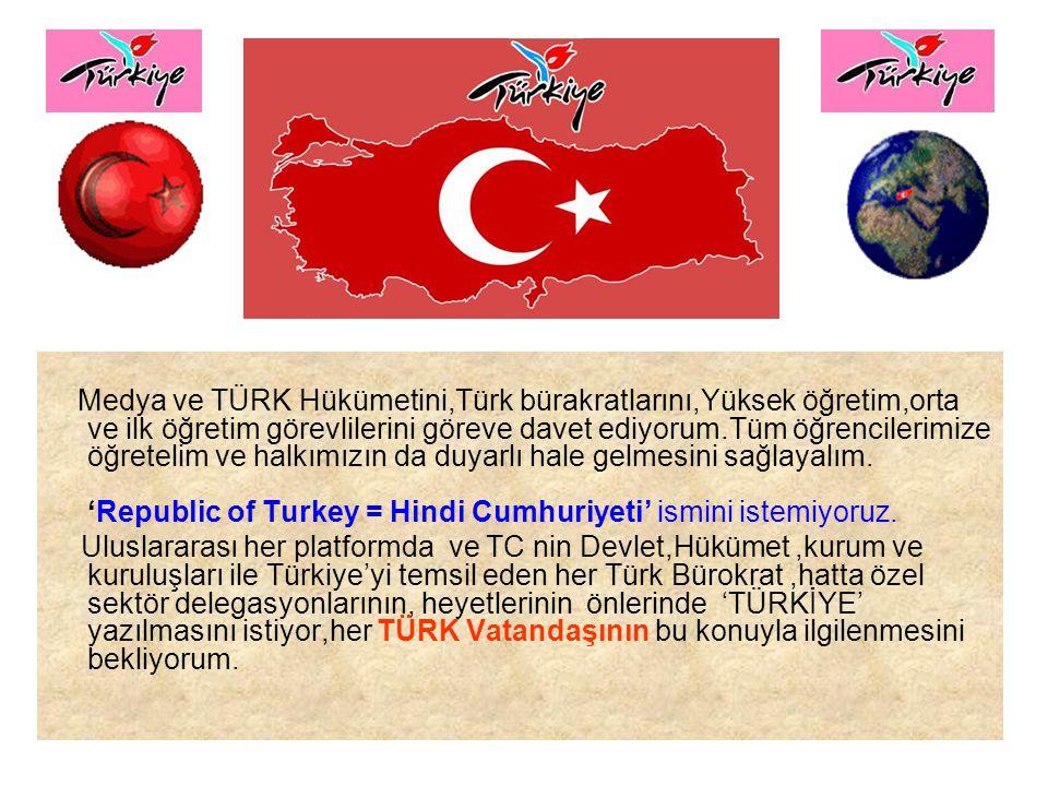 Biz bütün logolarımızı(kendi kendimize)TÜRKİYE diye yazsakta belki uzun bir süre Turkey diyene engel olunamaz.Bu nedenle resmen yapılacak tek şey; HÜKÜMETİN BİR AÇIKLAMA YAPARAK 1 YILLIK GEÇİŞ SÜRESİ SONUNDA TURKEY YAZILI HİÇ BİR POSTA VE MATBUATIN KABUL EDİLMEYECEĞİNİ DÜNYAYA AÇIKLAMASIDIR Habeşistan böyle yaptı ETİYOPYA oldu.