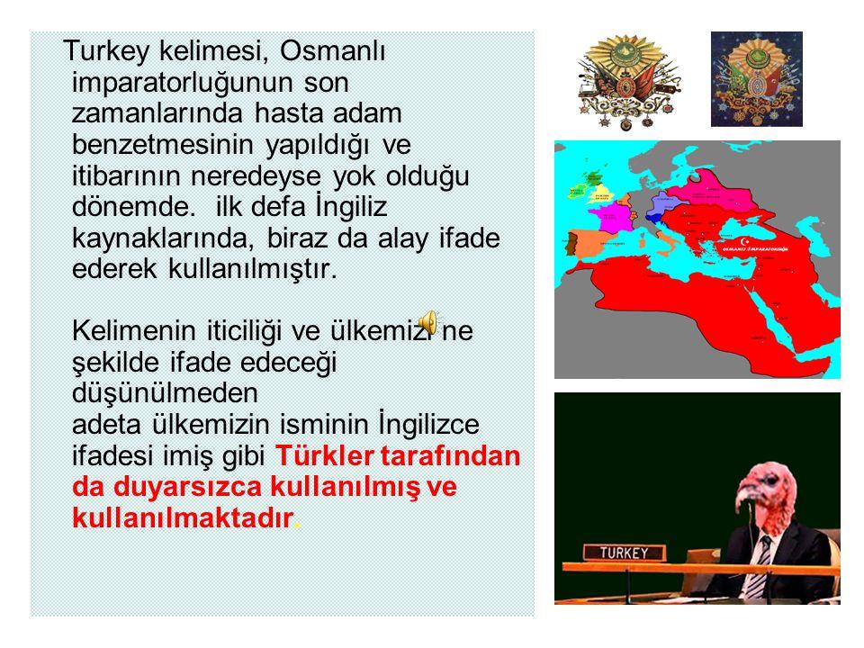 İngilizce de ise Turkey olarak anılan' hindi'ye ' bu ismin verilmesi;Türk Levent'lerinin hindiyi tanıtması ile birlikte, İngiliz'lerin yeni tanıdıkları bu hayvanı Türk Leventleri ile ilişkilendirerek Turkey adını verdikleri ve bu adı kullandıkları, veya buna benzer bir oluşumdan kaynaklandığı değerlendirilmektedir.