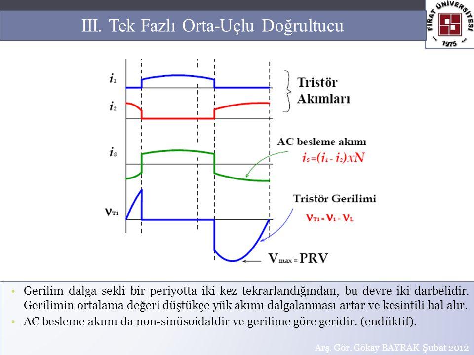 Gerilim dalga sekli bir periyotta iki kez tekrarlandığından, bu devre iki darbelidir. Gerilimin ortalama değeri düştükçe yük akımı dalgalanması artar