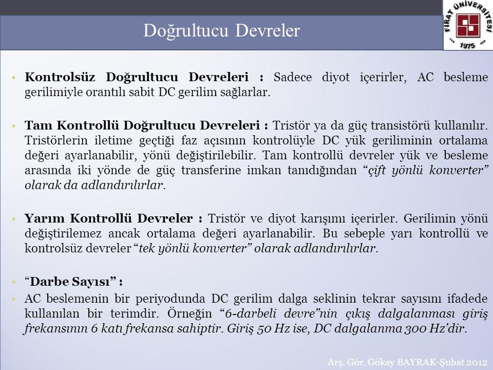 Komütasyon Diyodu : Çoğu devreler (özellikle kontrolsüz ya da yarı kontrollü) yukarıdaki şekilde olduğu gibi komütasyon diyodu içerirler.