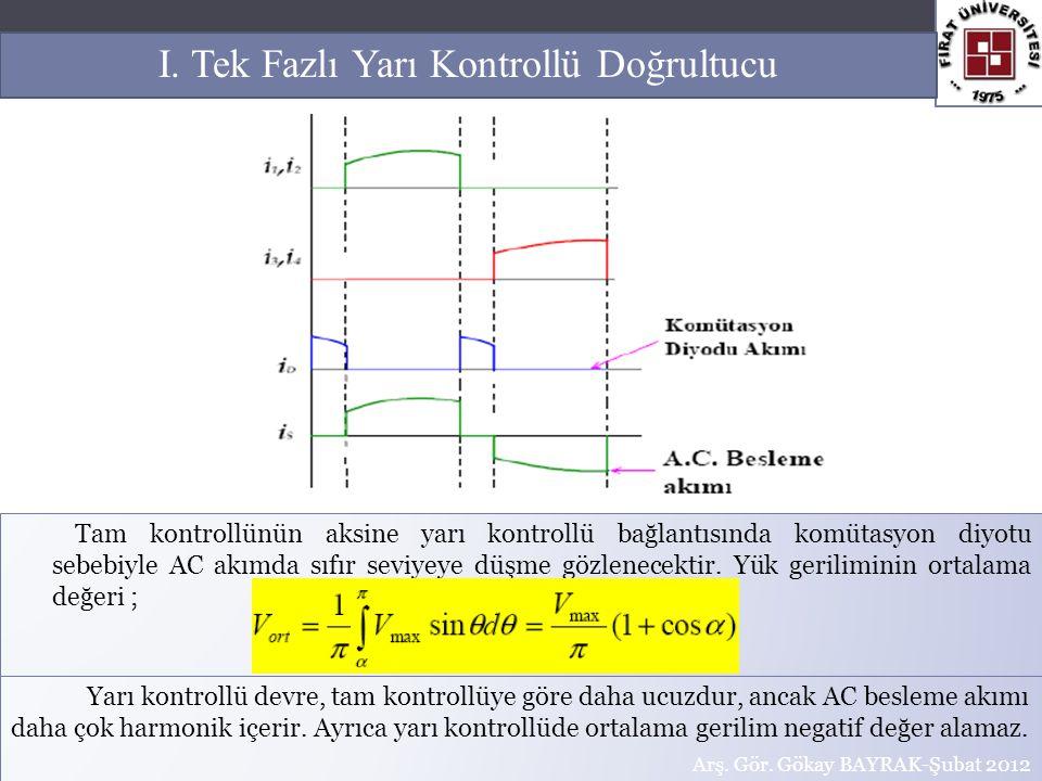 Tam kontrollünün aksine yarı kontrollü bağlantısında komütasyon diyotu sebebiyle AC akımda sıfır seviyeye düşme gözlenecektir. Yük geriliminin ortalam