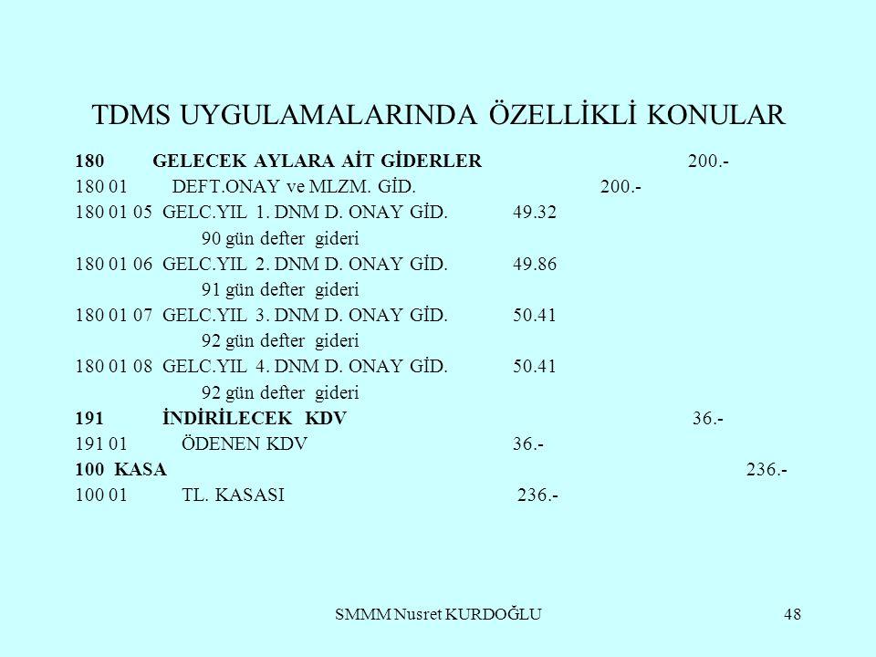 SMMM Nusret KURDOĞLU48 TDMS UYGULAMALARINDA ÖZELLİKLİ KONULAR 180 GELECEK AYLARA AİT GİDERLER200.- 180 01 DEFT.ONAY ve MLZM.