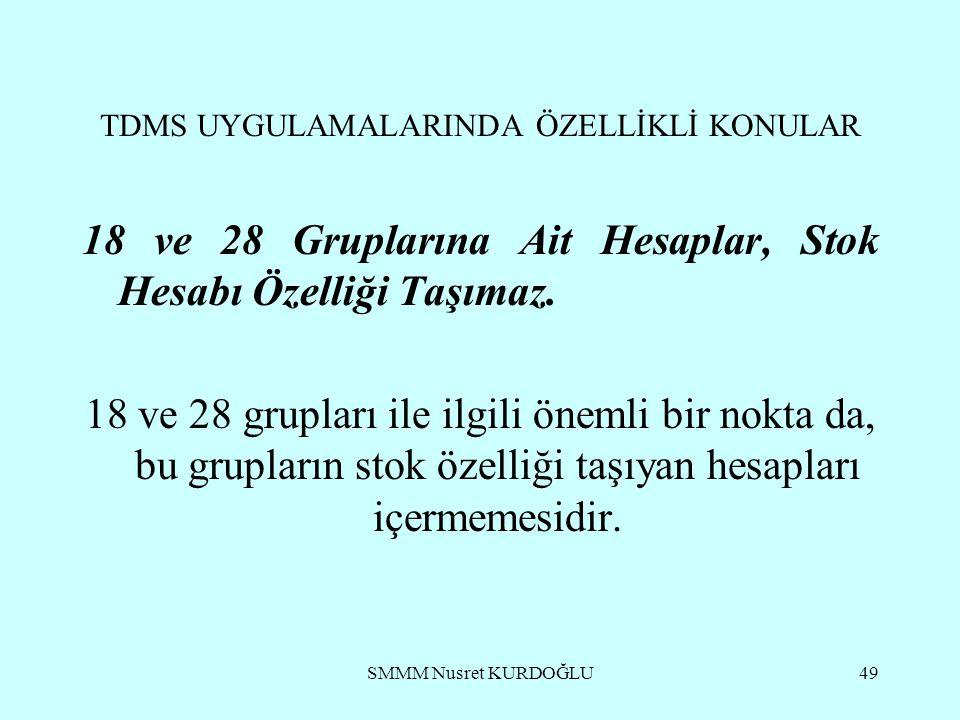 SMMM Nusret KURDOĞLU49 TDMS UYGULAMALARINDA ÖZELLİKLİ KONULAR 18 ve 28 Gruplarına Ait Hesaplar, Stok Hesabı Özelliği Taşımaz.