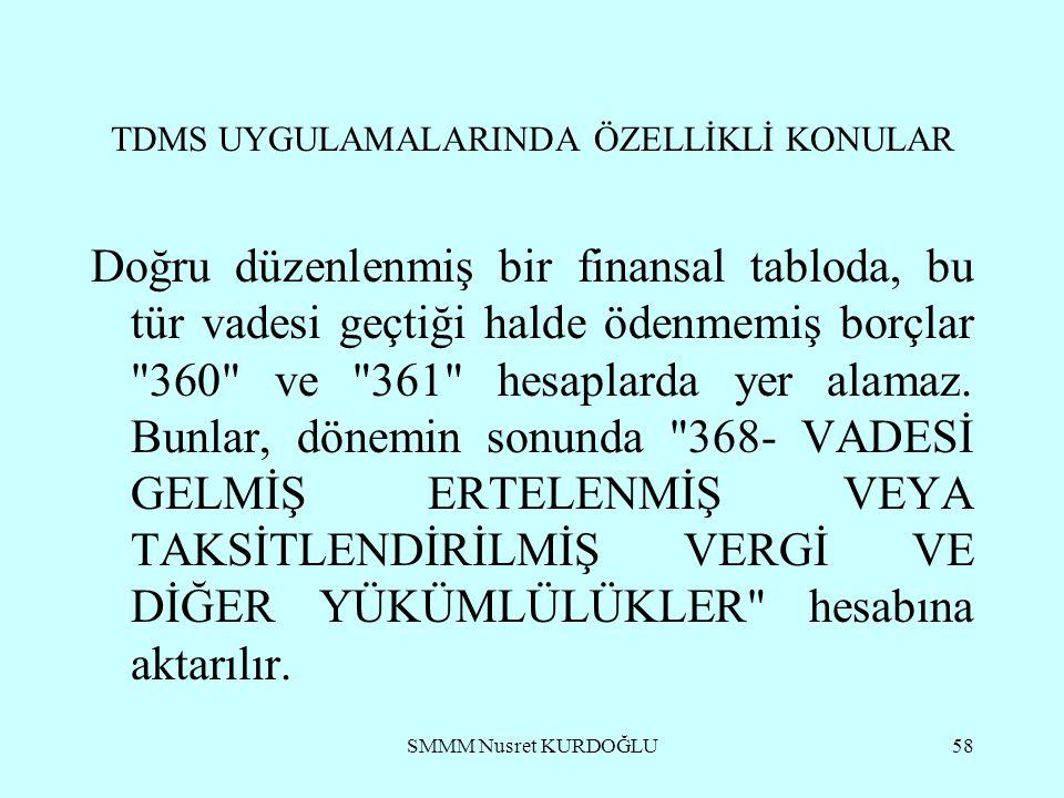 SMMM Nusret KURDOĞLU58 TDMS UYGULAMALARINDA ÖZELLİKLİ KONULAR Doğru düzenlenmiş bir finansal tabloda, bu tür vadesi geçtiği halde ödenmemiş borçlar 360 ve 361 hesaplarda yer alamaz.